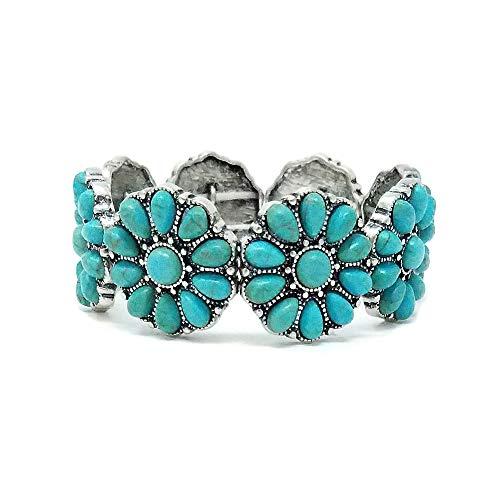 Turquoise Western Flowers Design Stretch Bracelet Navajo