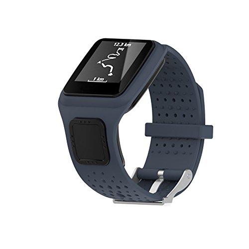 Cindaya Ersatz-Armband aus Silikon, weiches Silikongel, für Tomtom Multi-Sport/Cardio GPS-Watch Runner, grau