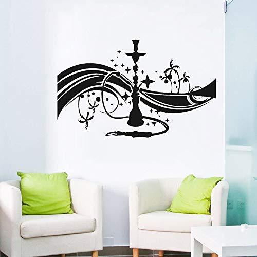 Shisha Shisha Cafe Bar Lounge Wandtattoo Schlafzimmer Arabian Glue Wandkunst Aufkleber Wohnzimmer Wandaufkleber Selbstklebende Blume 63X39 cm