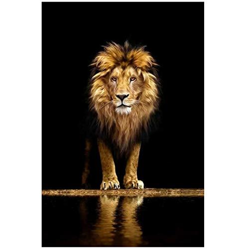 León en la oscuridad lienzo arte carteles e impresiones animales pared arte cuadros decorativos León africano lienzo pintura decoración de pared
