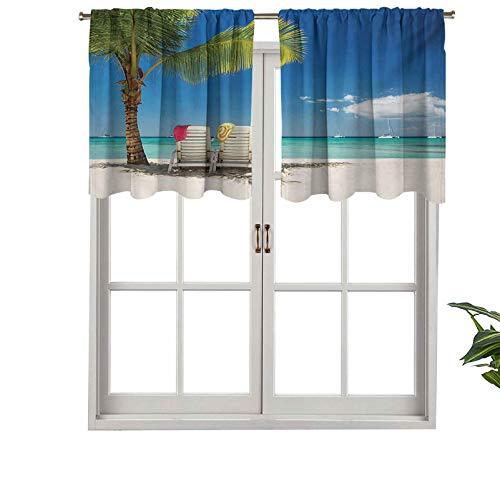 Hiiiman Cortinas para ventana pequeña con cenefa de ventana
