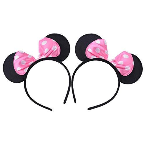 2 stuks muizenoren hoofdbanden voor verjaardagen, Halloween, party's, mama, jongens, meisjes, haarsieraden, mooie muisoren, haarband roze