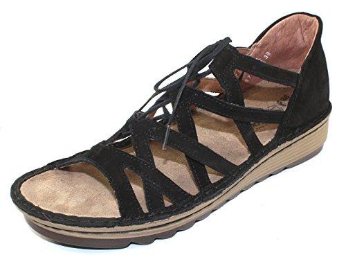 NAOT Footwear Women's Yarrow Lace up Sandal Black Velvet Nubuck 8 M US