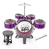 DYecHenG Batería para Niños New Big Plus Size Jazz Drum Set con Music Silla Instrumento de Juguete Educativo para Niños Niños para Principiantes (Color : Red, Size : OneSize)