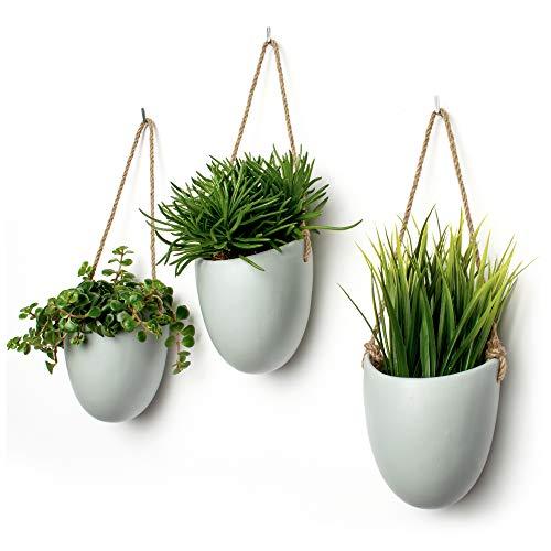 Kazai.® | Set 3 vasi da Parete in Ceramica | Grigio Opaco