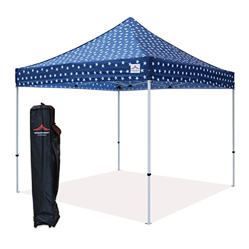 UNIQUECANOPY 10'x10' Ez Pop Up Canopy Tent Commercial Instant Shelter, with Heavy Duty Roller Bag, 10x10 FT Navy Blue Star