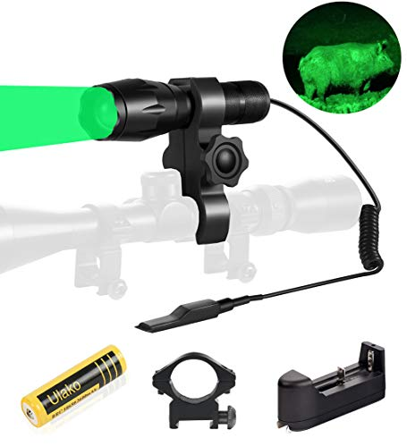 Ulako Green Light 350 Yards Spotlight Flood Light Zoomable Flashlight Torch for Hunting Hog Pig Coyote Varmint