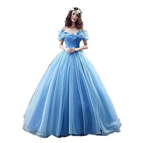 Victory Bridal Wunderschoen Blaues Kurzarm Abendleider Quincenera Ballkleider Lang Promkleider Cinderella -36 Blau