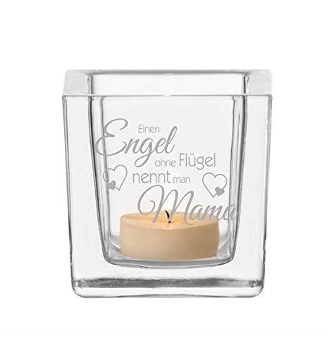 FORYOU24 - Leonardo Teelicht - Engel Ohne Flügel Nennt Man Mama - Teelichthalter Glas mit Gravur - Kerzen Teelichtglas BZW. Windlicht für Mütter u. Muttis zum Muttertag, Weihnachten etc.