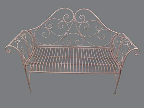 linoows tuinbank, balkonbank, ijzeren bank 2 zits in nostalgische stijl, ijzer roze