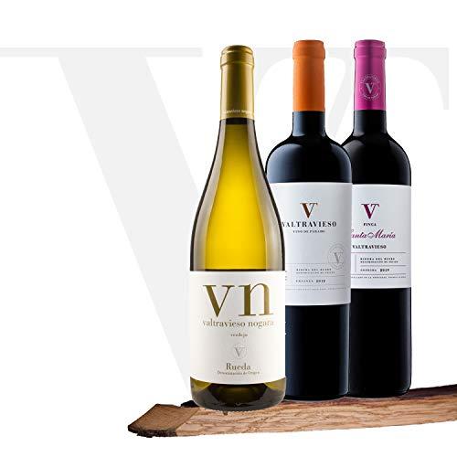 Valtravieso | Pack Lote de 3 Botellas |1 Nogara Rueda Vino Blanco DO + 1 Crianza DO Vino Tinto + 1 Finca Santa María Vino Tinto Ribera del Duero DO