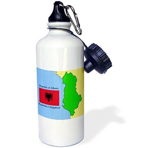 Cukudy Sport Waterfles Cadeau voor Kids Meisje Jongen, Vlag En Kaart Van Albanië Met Republiek Albanië Gedrukt In Engels En Albanees Roestvrij Staal Waterfles voor School Office Reizen 21oz