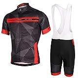 SKYSPER Ciclismo Maillot, Hombres Jersey + Pantalones Cortos Babero Mangas Cortas de Ciclismo Ropa Maillot Transpirable...