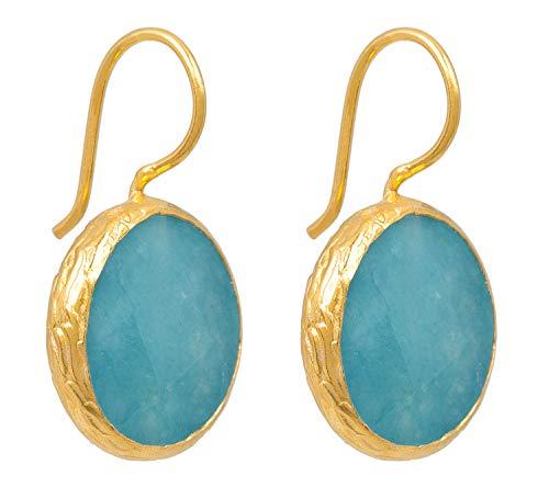 SARAH BOSMAN Pendientes para mujer con placa de oro Aqua Jade – Pendientes redondos plateados chapados en oro con piedras preciosas turquesas – 16 mm de diámetro – SAB-E01AQUJADg