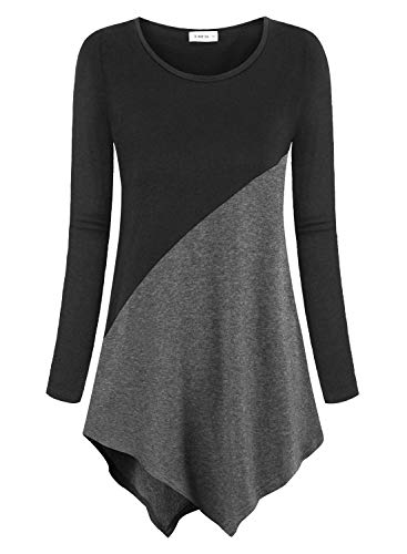 Amrto Damen Langarm Tunika Asymmetrisch Farbblock T-Shirt Bluse Rundhals Longshirt Casual Oberteile Tops, Schwarz-DunkelGrau M