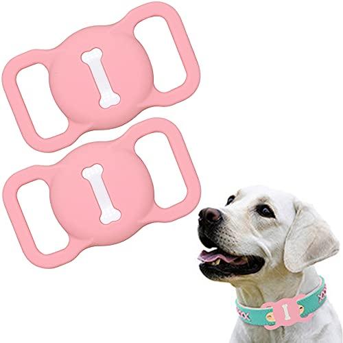 Funda de Silicona Compatible con el Collar para Mascotas Airtag, Funda Protectora Airtag, Estuche buscador GPS portátil Ajustable para Collar de Perro y Gato 2 Piezas (2-Rosa)