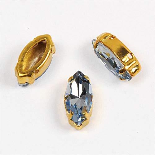PENVEAT 4200 Piedras de fantasía K9 Ojo de Caballo, Diamantes de imitación en Punta en la Parte Trasera con Gemas de Cristal Todo para Costura, Zafiro Claro, 7 x 15 mm, 12 Unidades