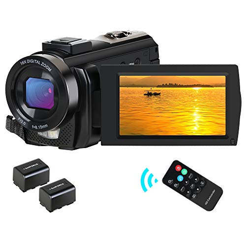CamVeo Video Camera Camcorder, Camcorder HD 1080P 24MP 16X Digital Zoom 3.0 Inch LCD 270 Degrees Rotatable Screen YouTube Vlogging Camera with Remote Control, 2 Batteries