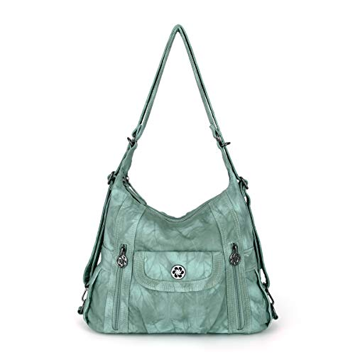 angel kiss Satchel Handbag for Women, Ultra Soft Washed Vegan Leather Crossbody Bag, Shoulder Bag, Tote Purse (ZC0118#K022#4PURPLE2) (A0118-5#G361#17-Oyster Green)