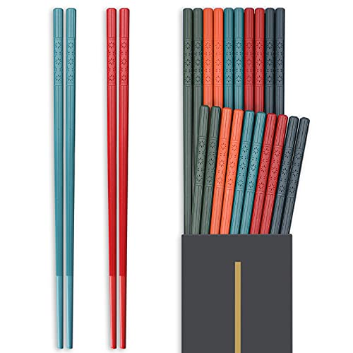 Hiware 10 Pairs Reusable Chopsticks Dishwasher Safe, Non-Slip Chop Sticks Set Japanese Style, 9.5 Inch