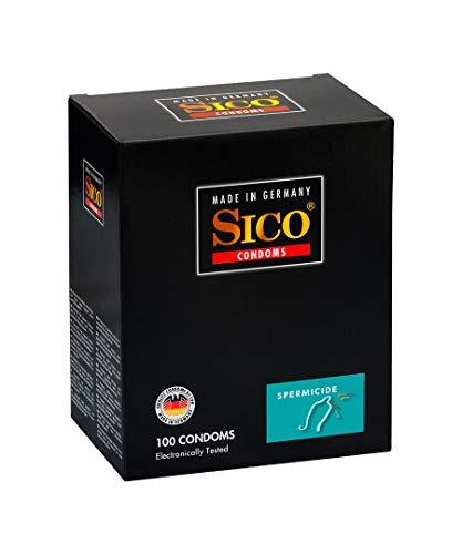 SICO Spermicide condones - con recubrimiento de espermicida - látex de caucho natural - embalado individualmente en una caja - 100 piezas - Made in Germany