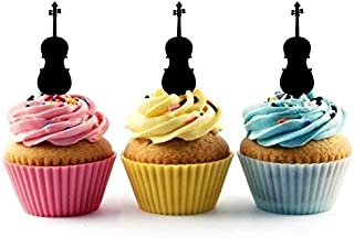 Violin Silhouette Acrylic Cupcake Toppers 12 pcs