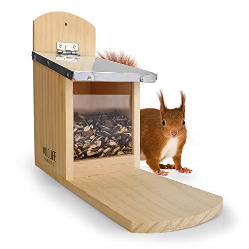 WILDLIFE FRIEND | Eichhörnchen Futterhaus aus Kiefernholz & Zink-Dach, wetterfest, unbehandelt, Futterstation Eichhörnchenhaus zum Eichhörnchen füttern, Eichhörnchenfutterhaus