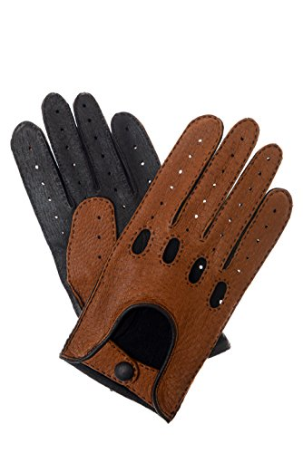 Herren Lederhandschuhe Autohandschuhe aus Peccary Leder zweifarbig tan/dunkelbraun 9