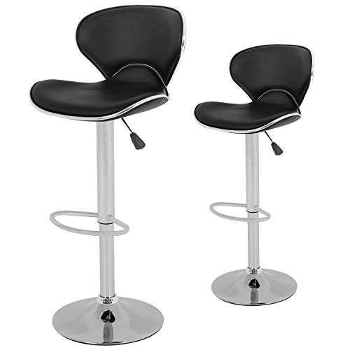 Set of 2 Adjustable Bar Stools Height Ajustable Swivel Barstools Chairs with Back Pub Kitchen Dining Room Counter Bar Chairs,Black