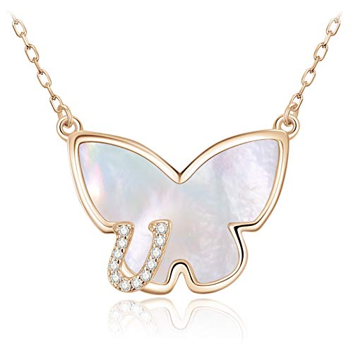LOUISA SECRET Necklace with Letter Necklace for Women Butterfly Letter Pendant 925 Sterling Silver A-Z Personalised Christmas Decoration Birthday Gifts for Women Girls Rose gold-u