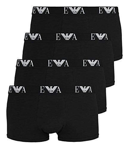 Emporio Armani Herren Boxershorts 111210-CC715 4er Pack, Farbe:Schwarz, Menge:4er Pack (2X 2er), Wäschegröße:XL, Artikel:111210-CC715-07320 Black