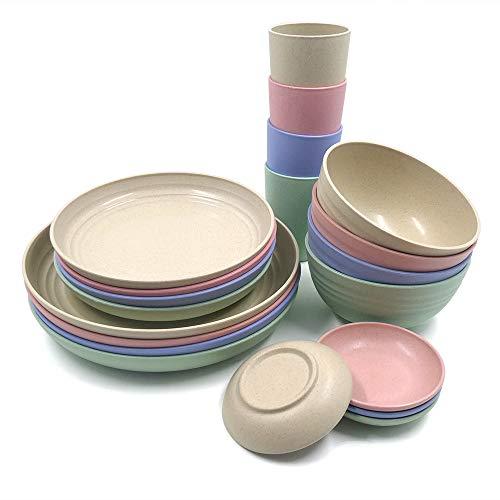 Juego de vajilla de paja de trigo de 20 piezas, platos ligeros, tazas, platos, juego de vajilla irrompible para picnic, fiesta, barbacoa, camping (20 piezas)