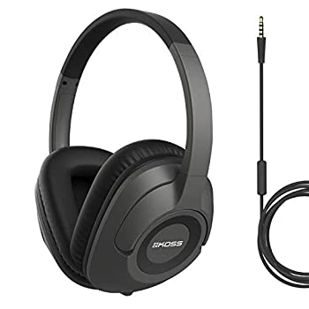 Koss UR42iK Over-Ear Headphones in-Line Microphone and Touch Remote Control Detachable Dual Choice Entry Cord Wired with 3.5mm Plug Dark Grey and Black