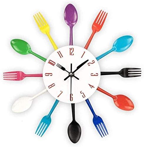 Reloj de Pared Reloj de Pared de Cocina 3D Vajilla Moderna extraíble Cocina Cuchara Tenedor Reloj de Pared Espejo Etiqueta de la Pared Etiqueta de la Pared Habitación Decoración del hogar