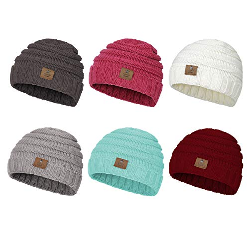 Zando Baby Winter Hats Kids Cable Knit Caps Cozy Warm Cute Infant Toddler Beanies for Girls 6 Mix Color B One Size