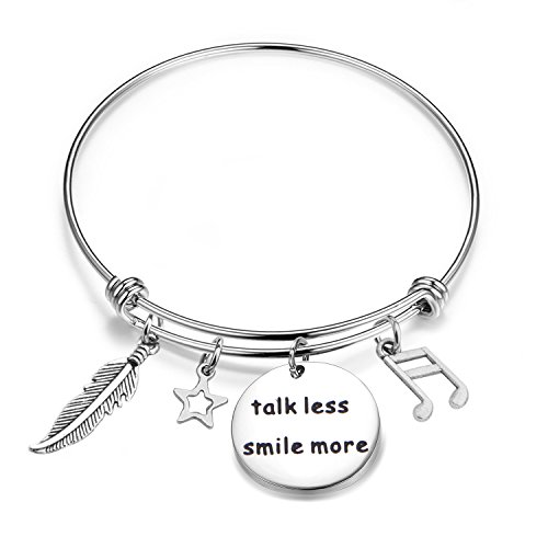amazon collection inspired silver bracelets BNQL Hamilton Inspired Talk Less Smile More Bracelet Keychain Musical Inspired Lyrics Jewelry Gift