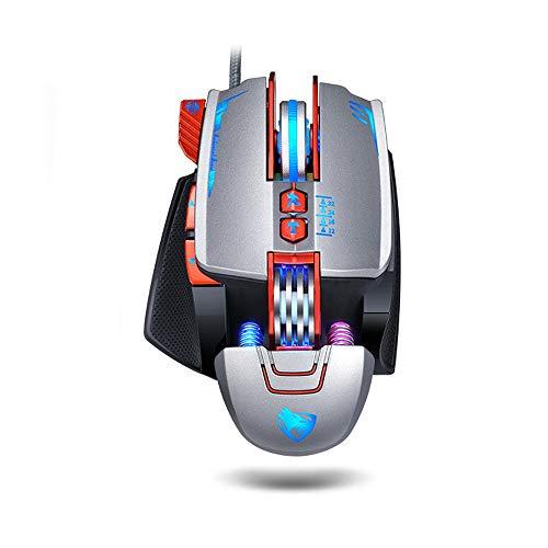 Makros Define Gaming-Maus, Attoe mechanisch, kabelgebunden, ergonomisch, USB-Computermaus, programmierbar, 3200dpi, RGB-Spielmaus für Desktop-PC und Laptop grau