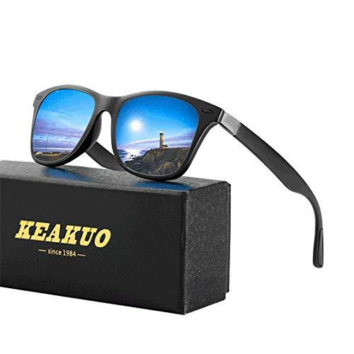 Sonnenbrillen Herren Polarisierte Mode Sonnenbrillen Damen - UV400 Schutz Unisex Sport im Freien Golf Radfahren Angeln Wandern polarisiertesonnenbrilleherren KEAKUO2150 (Blau schwarz, 60)
