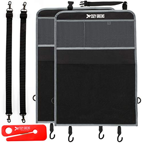Kick Mats Car Seat Organizer, Car Seat Protector for Back of Carseat - 2 Pack - Kicking Mat Protectors - Bonus Seat Belt Cutter - Great for Child and Kids - Mesh Pockets - Universal Fit
