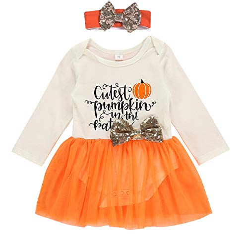 Infant Baby Girl Romper Letter Pumpkin Print Bodysuit Tops with Tulle Tutu Skirt with Headband 2pcs Clothes Outfits (Orange, 12-18 Months)