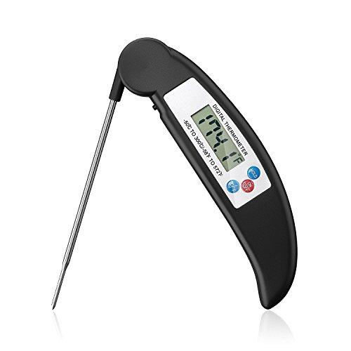 XPhonew: ultrasnelle thermometer voor het koken van vlees en levensmiddelen, opvouwbaar, snel of automatisch aan/uit, direct aflezen door draagbare digitale thermometer met lange sensor, ideaal voor keuken en buiten, voor barbecue, gevogelte, grill, water, melk. zwart