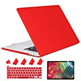 TwoL MacBook Pro 13 ケース A2238 M1/A2251/A2289/A2159/A1989/A1706 (2016-2020発売), プラスチックハードカバー USキーボードカバー 液晶保護フィルム NEW MacBook Pro 13 インチ Touch ID搭載対応, レッド