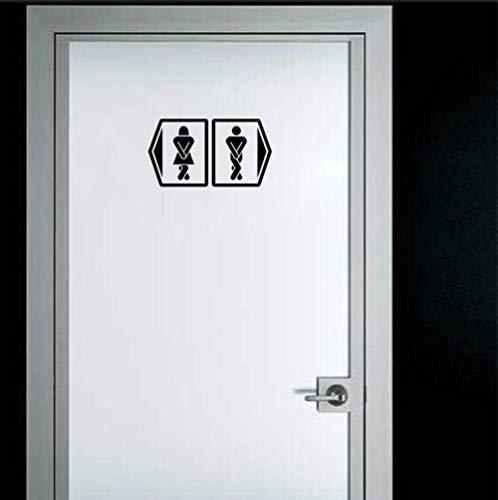 Zshhy Piktogramm Badezimmer Männer Und Frauen Tür Aufkleber Zubehör Wandaufkleber 11.1 * 12.5Cm