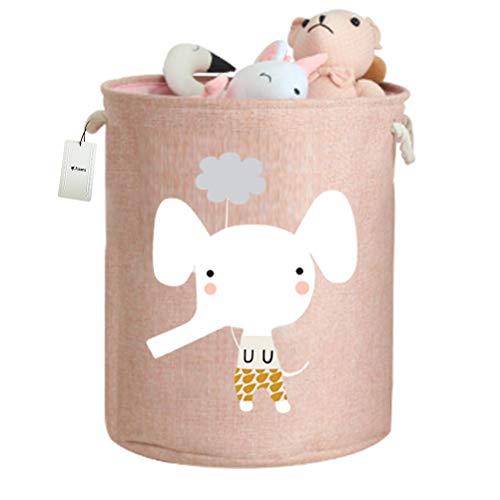 Fieans Kinder Wäschekörbe Aufbewahrungskorb Verdickte Faltbare Lagerung Aufbewahrungsbox Stoff Groß Spielzeugkiste kinderzimmer Organizer mit Kordelzug - Rosa Elefant