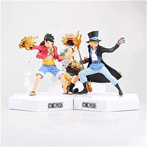 Anime Fire Fist Luffy Ace Sabo Groupe Versión Vertical Versión Versión Versión Versión Escultura Decoración Decoración Muñeca Juguete Juguete Altura 16 cm