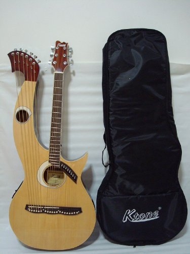 Ktone Harp Guitar, Acoustic Electric Double Neck Guitar with Padded Gig Bag