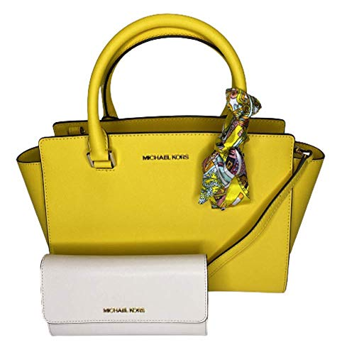 Bundle of 3 items: MICHAEL Michael Kors Selma MD TZ Satchel bundled with Michael Kors Jet Set Travel Large Trifold Wallet and Couture du Jour Skinny Scarf zip top closure Saffiano leather satchel, double top handles, gold/silver hardware and detail, ...