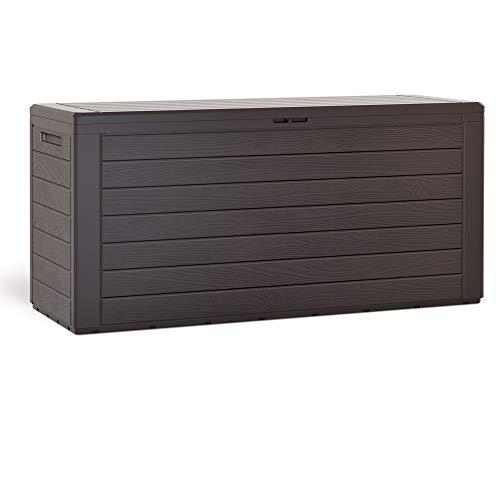 Coffre de rangement 300 Litres 120x46x57 cm Aspect bois Poignées latérales Malle de rangement Jardin Terrasse Balcon