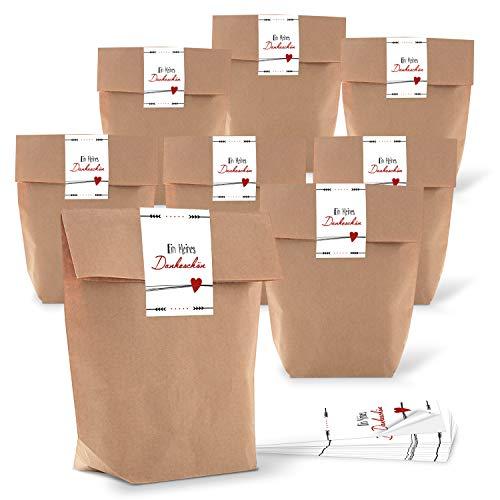 10 kleine Gastgeschenk Verpackung Geschenktüte Tüte Papiertüte DANKE DANKESCHÖN Geschenk verpacken braun weiß rot give-away HERZ Geschenkbeutel Papierbeutel