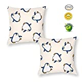 Cotton Pillowcase, Cute Cartoon Pattern Holiday Square Pillowcase, Single-Sided Printed Pattern Cushion Cover can Relieve Neck Pain, Hidden Zipper Opening Without Pillow core 50x50cm